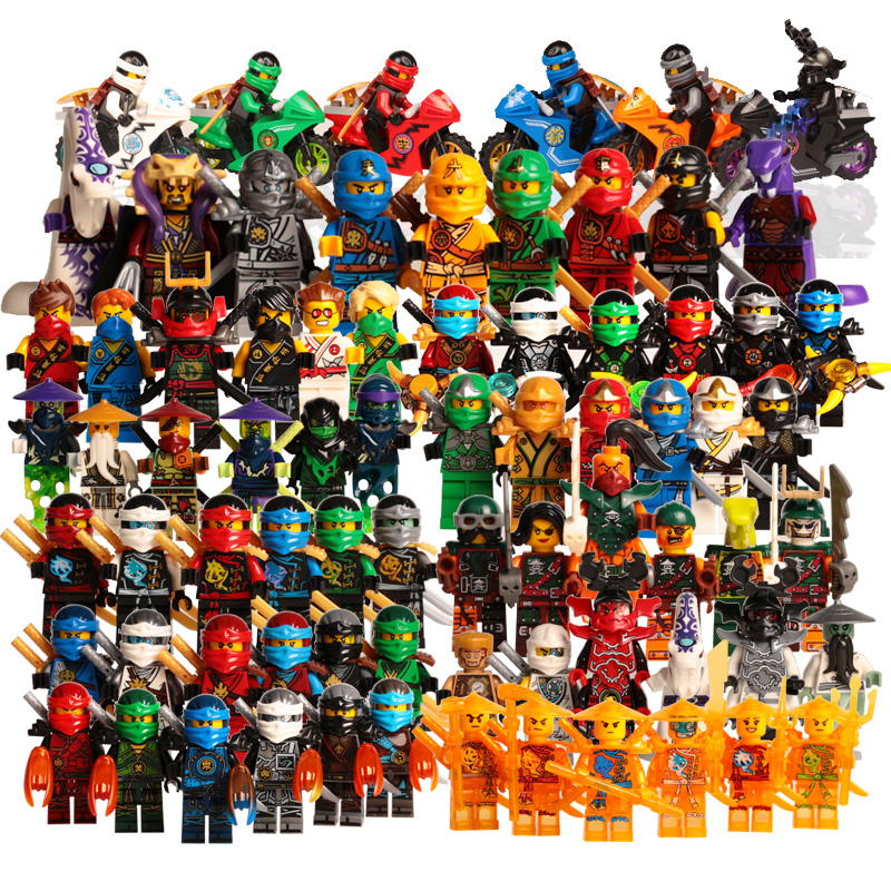 Action Figure Toys NinjagoINGlys Golden Ninja Heroes Minifigs With Motorcycle Skylor Lloyd ZX DIY Buliding Blocks(China)