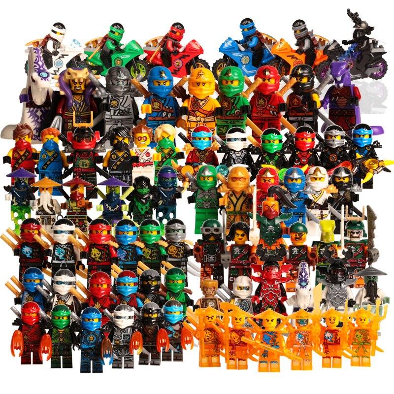 Action Figure Toys LegoINGlys NinjagoINGlys Golden Ninja Heroes Minifigs With Motorcycle Skylor Lloyd ZX DIY Buliding Blocks