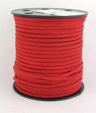 Искусственные Замши Шнура, красный, 3 мм в ширину, 100yd/roll, 1.5 мм толщиной