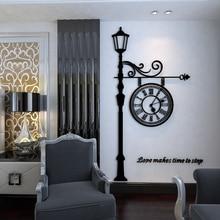 Classical European clock pattern 3D wall stickers Creative warm alarm bedroom black Acrylic self-adhesive sticker