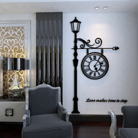 Classical European clock pattern 3D wall stickers Creative warm alarm clock 3D bedroom black Acrylic self adhesive wall sticker