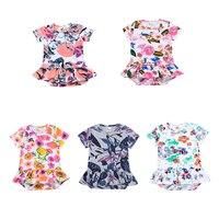 5 стилей Модная одежда для детей, Детская мода Одежда Летний стиль 100% хлопок мягкий девушка с коротким рукавом Комбинезоны для малышек Цвето...