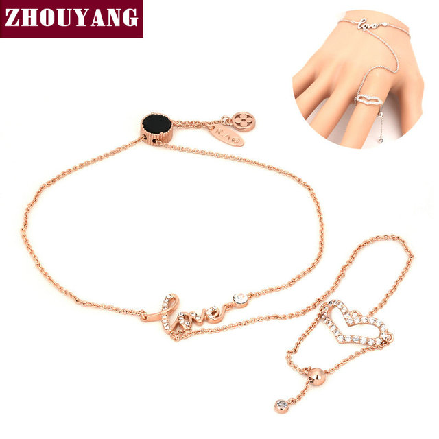 Top Quality Love Heart Rose Gold Color Bracelet Jewelry Genuine Austrian Crystal ZYH128