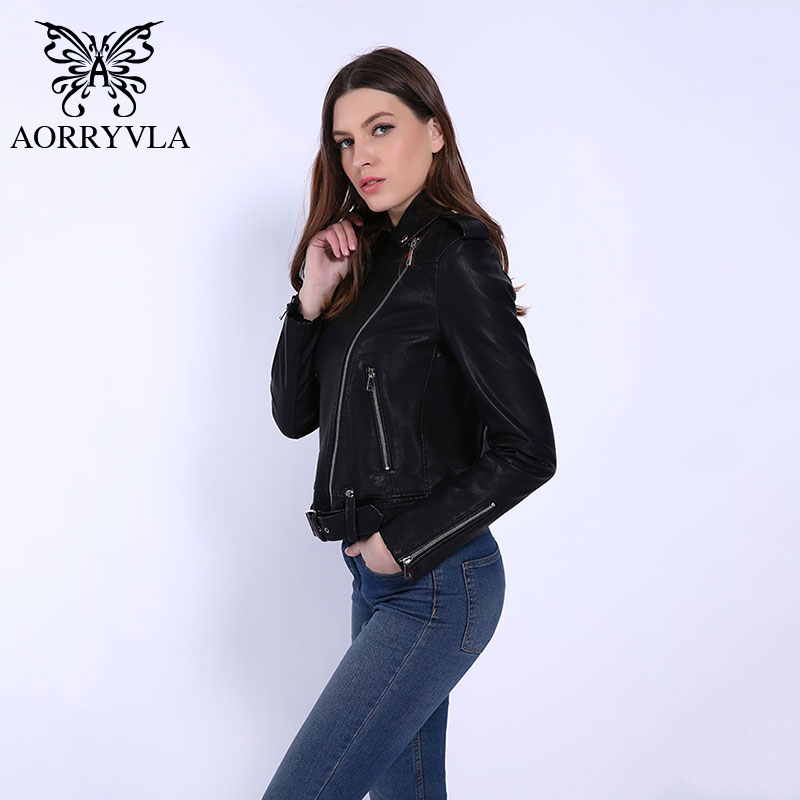 AORRYVLA Hot Model   Leather   Jacket Woman Sashes Zipper Short Europe Style Outwear Women's Faux   Leather   Jacket New Collection