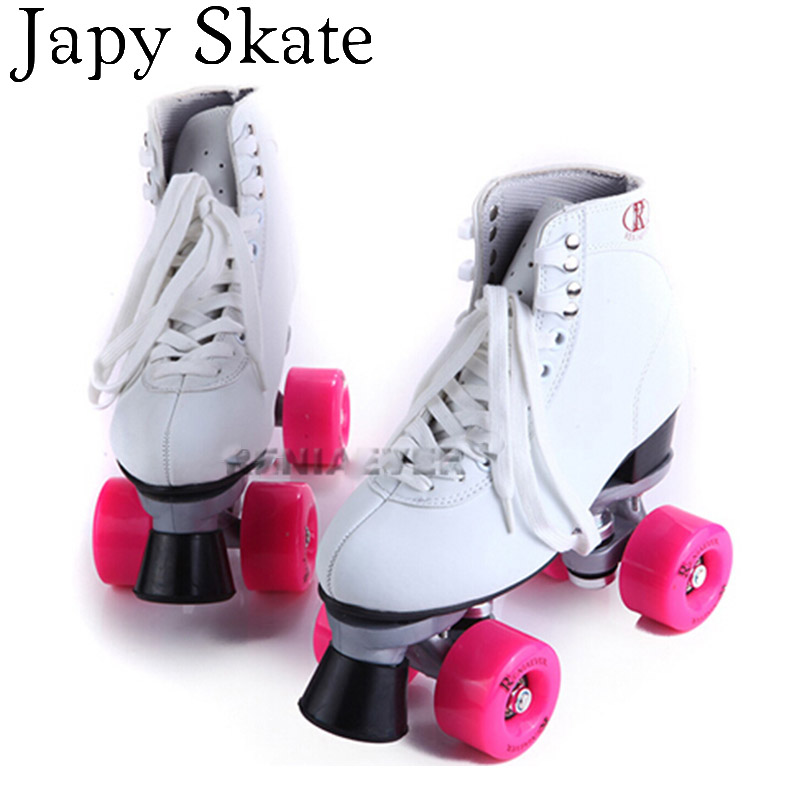 Japy Skate 2016 New Double Roller Skates Two Line Roller Skate Patins Lady Patins Adulto White Adult 4 Wheels Skate Shoes cute baby boys girls cloth sets cartoon dragon print summer kids t shirt shorts suits children clothing set