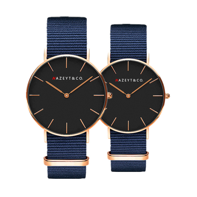 Fashionable Men And Women Contracted Digital Dial Quartz Watch Student Trend Nylon Wrist Expression Companion Watch