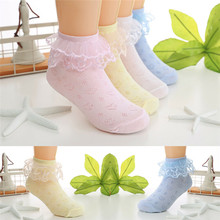 Lace Frilly Ruffle Baby Socks Cotton Soft Baby Girl Socks Kid Ankle High Cute Princess Socks Big Bow White 2-9 Years(China)