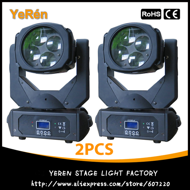 (2PCS) Super Beam Led Moving Head Light with 4x25W White Led Lamp Rotating Lens DMX 9/15Chs DJ Effect Light