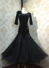 Top! High Quality.Black Velvet Ballroom dress, tango salsa dance wear, Tango Rumba Cha Cha dance dress