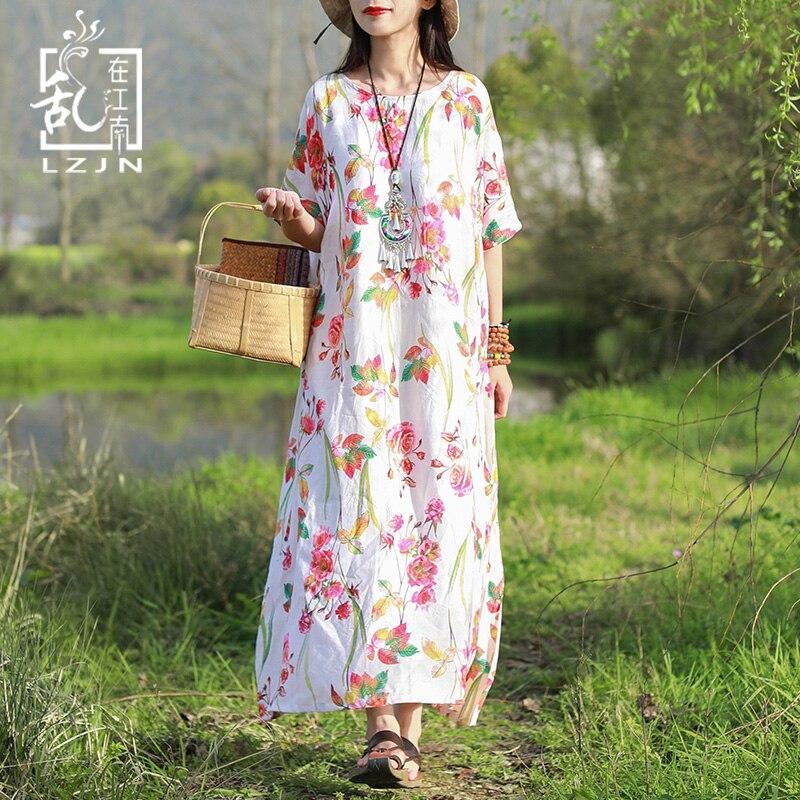 LZJN señoras verano playa vestido 2019 manga corta Floral Maxi camisa vestido para mujer bata mujer Mori chica túnica larga plus tamaño-in Vestidos from Ropa de mujer    1