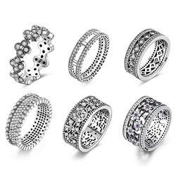 925 gümüş yüzük Charm erik çiçeği çiçek mor temizle kristal parmak yüzük kadınlar takı için