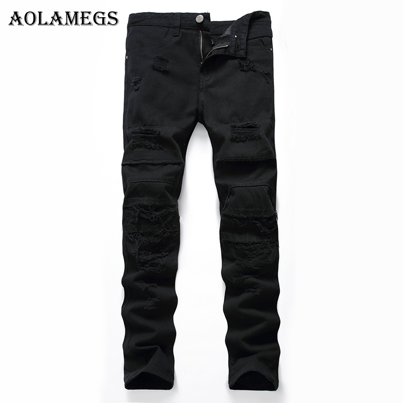 Aolamegs Men Jeans Hole Pants Full Length Black Dark Summer Cut Broken Explosion Section Stretch Denim Straight Fashion Relaxing