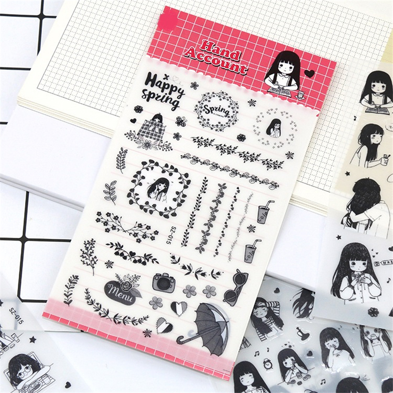 Lychee Life 6pcs Simple Japanese Girl Stickers Mini Paper Sticker