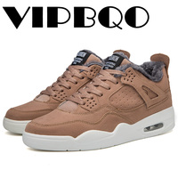 VIPBQO 2018 Winter Jordan Retro 4 Basketball Shoes Air Sneakers Plus velvet warm non slip