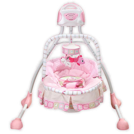 aa3888689cb3 Free shipping Pink Girl luxury baby cradle swing electric baby ...