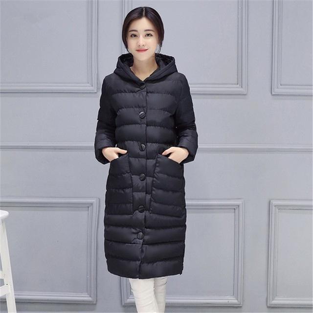 Mulheres Casaco de Inverno 2016 Nova Moda Longa Com Capuz Mulheres Inverno jaqueta Fêmea Magro Quente Algodão Acolchoado Casacos Casacos Plus Size W126