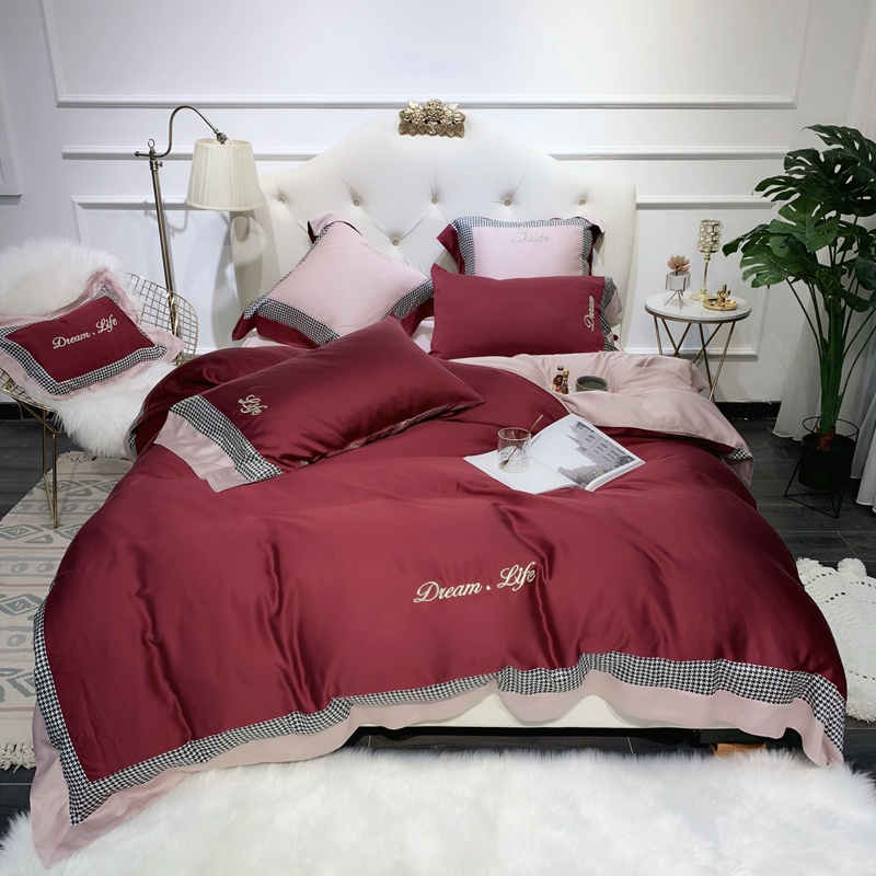 Multi Color 600TC Tencel Silk Ultra Soft Comforter Cover Bedding Set 4 Pcs Queen King Size Duvet Cover Bed Sheet Pillow Shams