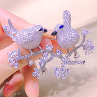 Qi Xuan_Brooch jewelry_Bird Brooch Accessories Female S925 Sterling Silver Brooch With High Carbon Zircon Elegant Temperament