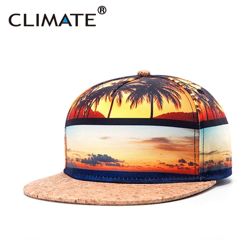 Prix pour CLIMATE 3D De Noix De Coco Surf Bois Pic Balnéaire Snapback Caps Plage Réglable Vivid Impression Plage Hip Baseball Chapeau pour Homme Femmes
