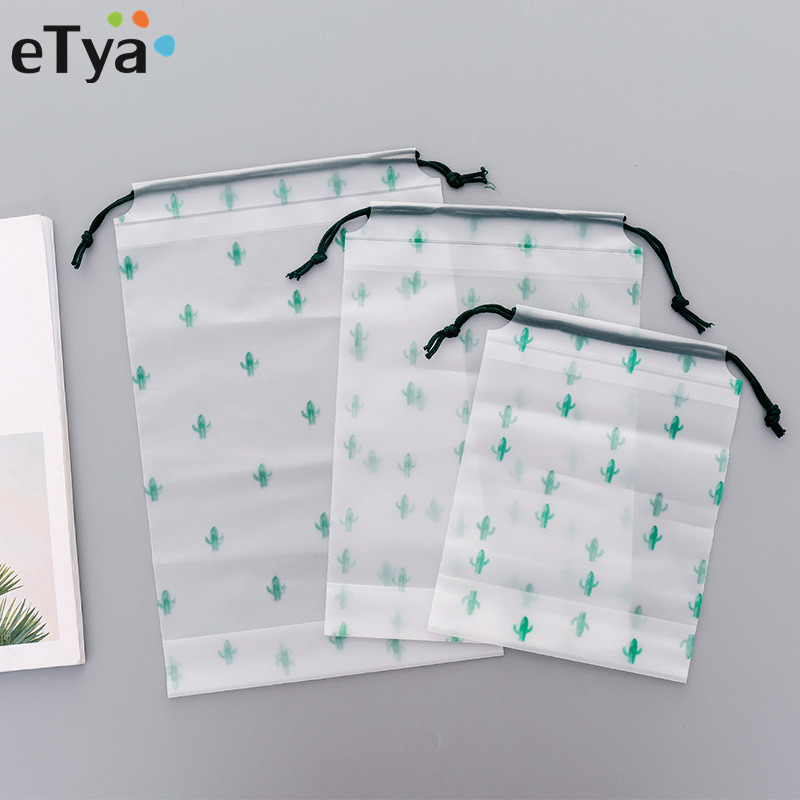ETya 3pcs/lot Women PVC Makeup Bag Neceser Beauty Drawstring Cosmetic Bag Case Travel Cosmetic Toiletry Bag Pouch Organizer
