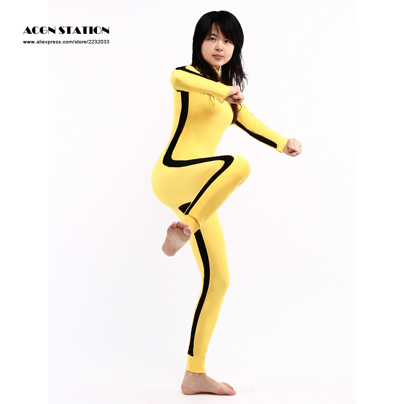 Kongfu bodysuit jumpsuit Customized for adults and kids New Zentai Suit Yellow Lycra Spandex Unisex Bodysuit For Halloween