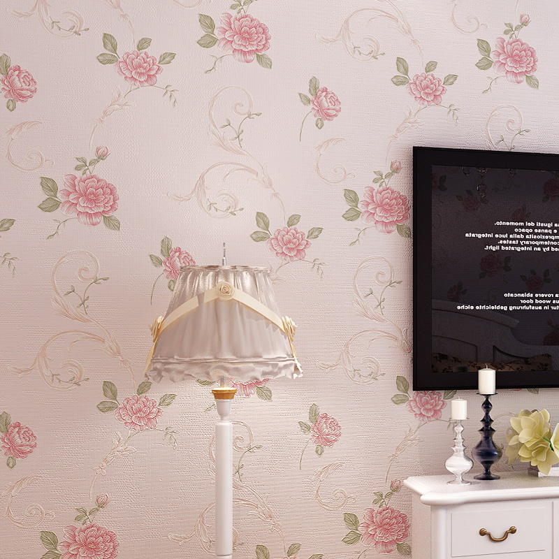 Pastoral Style Non Woven Floral Wallpaper Wall Covering Restaurant Living  Room Bedroom Background Wall Papers