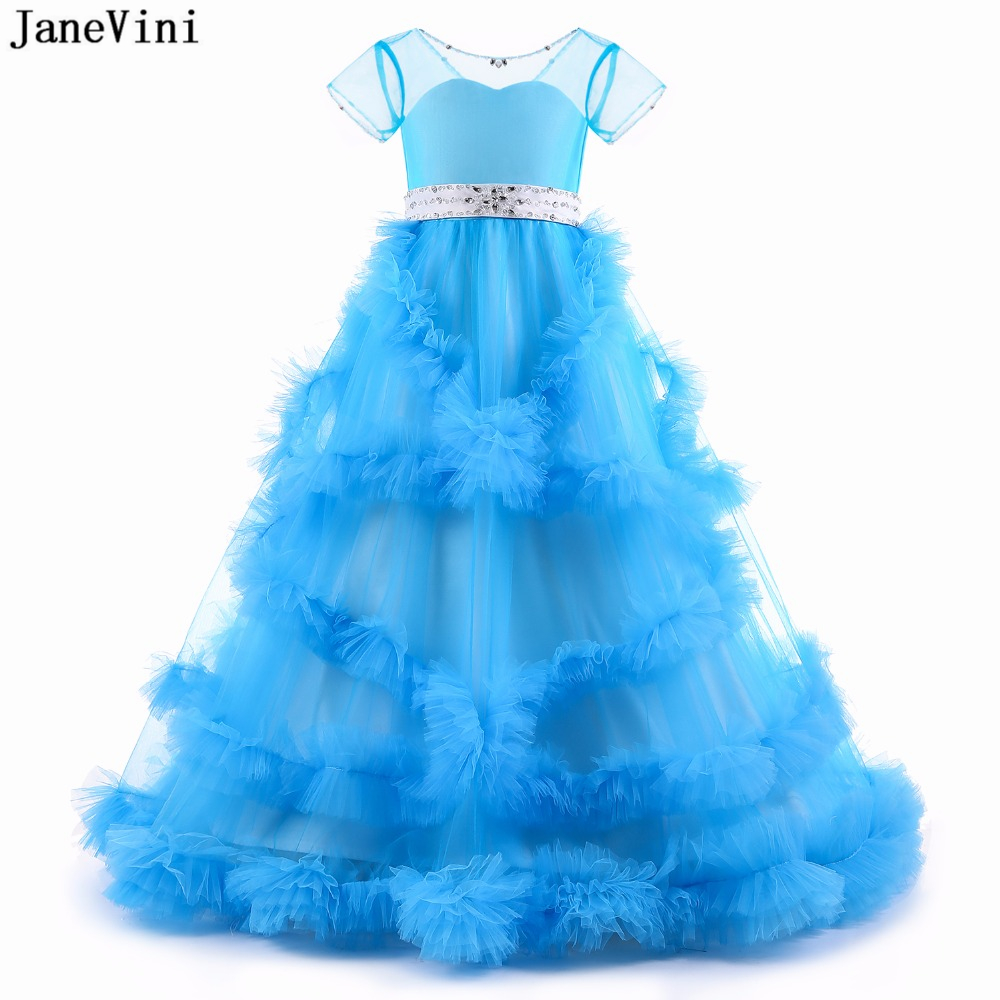 JaneVini Gorgeous Blue Tulle   Flower     Girl     Dresses   Cloud Ball Gown Short Sleeves Ribbon Sashes Beaded   Girls   Evening Pageant Gowns