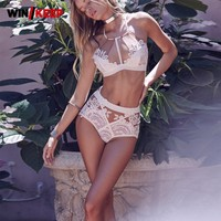 2018 Brand New Sexy Women Lace Crochet Bikini Set Beach Holiday Swimming Suit For Women Halter