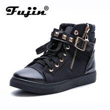 Fujin marca Zapatos de Las Mujeres del Otoño Botas Bajas Botas Casuales de Alta Superior de Lona de Alta Zapatos Femeninos Remaches Cremallera Zapatos Casuales botas