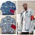 Качество Джинсовой куртке мужчины Уничтожены хип-хоп уличной jaqueta джинсы masculina мужские куртки и пальто старинные kanye west куртка