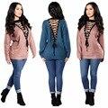 2017 новая мода женщины сексуальное осень зима упругой глубокий v-образным вырезом кружева с длинными рукавами трикотажные пуловеры свитера топы