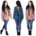2017 new fashion women sexy autumn winter elastic deep v-neck lace up long-sleeve knitted pullovers sweaters tops