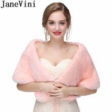e8161b0d37 JaneVini élégant rose fausse fourrure Cape châles robes de soirée femmes  boléro cravate mariée fausse fourrure