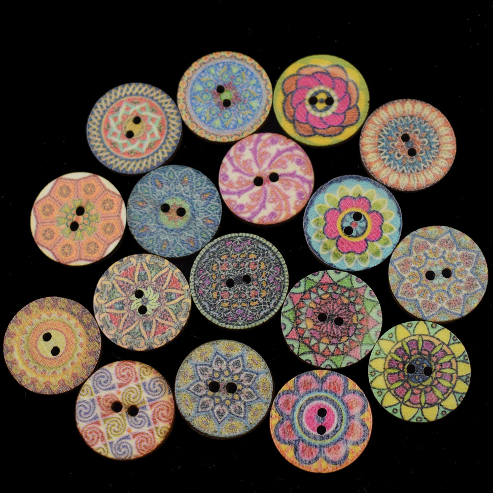 20pcs Vintage Stripes Buttons 15mm Wooden 2 Hole Fun Novelty Sewing Crafts Mixed