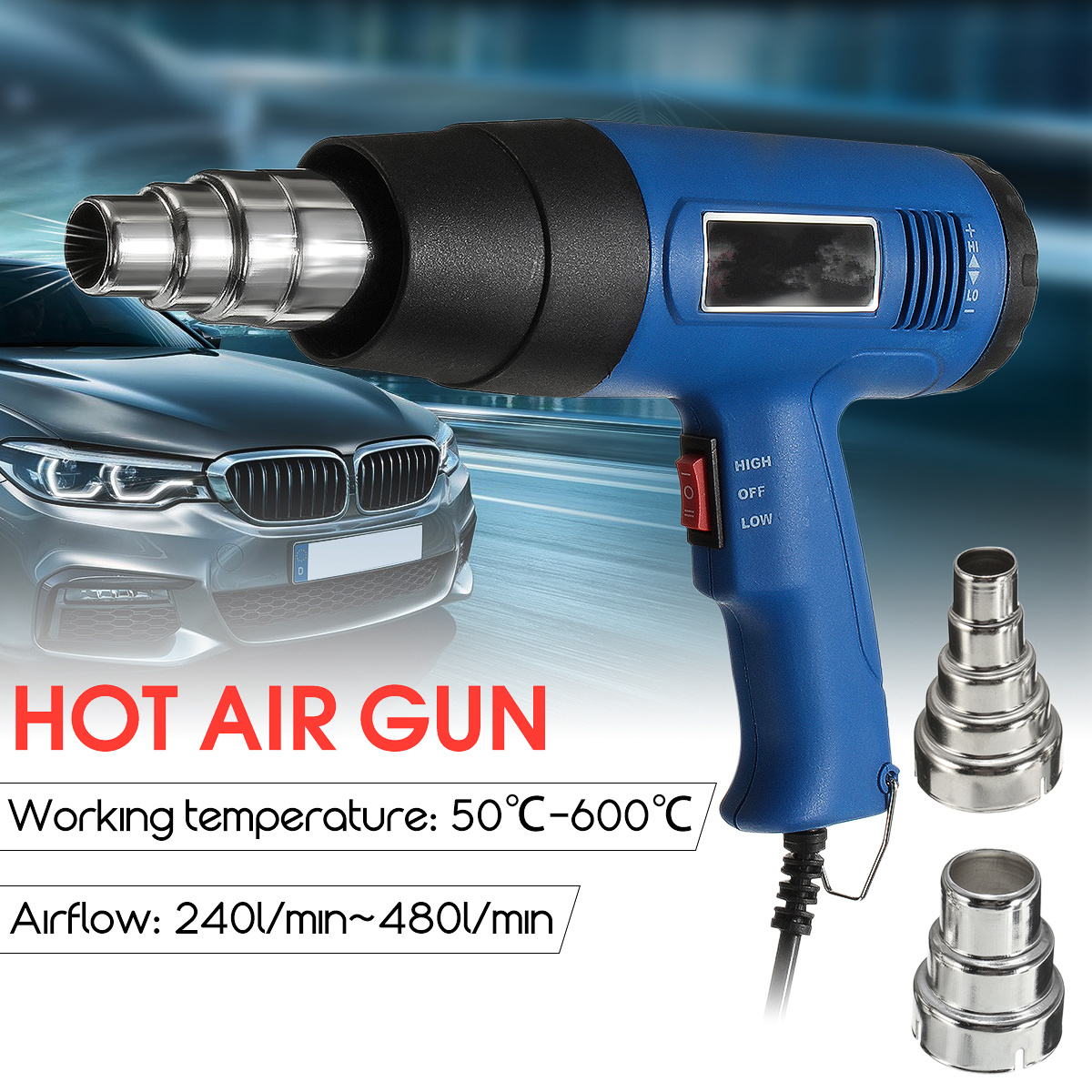 NEW Hot Air Heat Gun Blower 1800W 600 degree Paint Drying Striping Tool with 2 Nozzles цена 2017