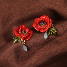 New Les Nereidse Flower Stud Earring For Women Enchanting Poppy Earrings Good Gift  Enamel