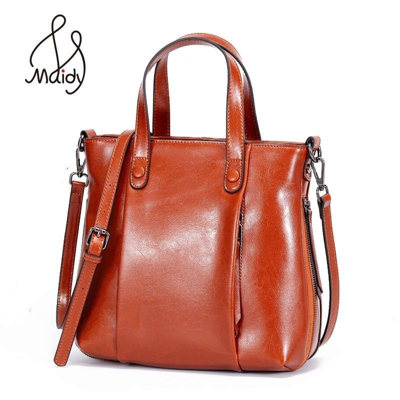 Women New Arrivals Genuine Cowhide Cow Leather Casual Tote Bag Messenger Shoulder Bags Totes Crossbody Satchel Handbags Maidy new designer handbags satchel genuine cow leather totes crossbody bags single shoulder vintage women s solid hasp hard bags