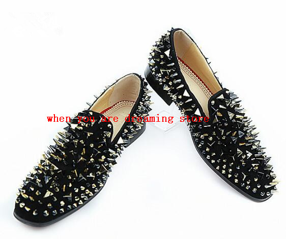 Us 102 9 2017 Men Black Suede Shoes Silver Rivet Covered Men Loafers Red Bottom Flats Shoes Size 38 47 Quality Dress Shoes Men In Formal Shoes From