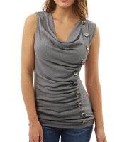 Casual Summer Women T Shirt Button Tank Tops Cowl Neck Sleeveless Slim Shirt Sheath Fashion Women