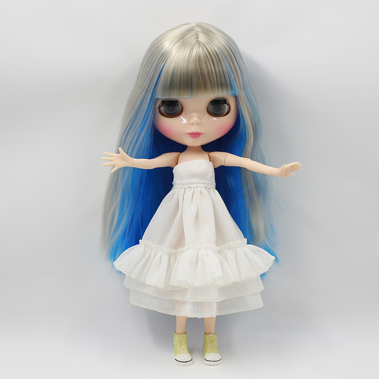 Free shipping factory blyth doll BJD 230BL60283167 with Bangs fringes Joint Doll Blue mix grey hair