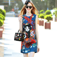 Dresses Summer Female Fashion 2017 Sequined Diamonds Animals Print Classic Jacquard Blue Ladies Casual Mini A-Line Dress