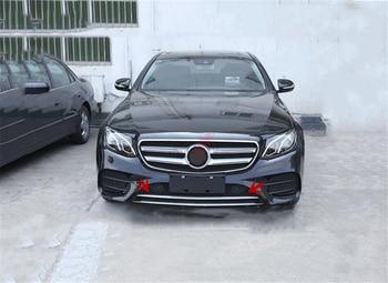 Untuk Mercedes Benz E Class W213 E200L E300L Olahraga Depan Grille Bumper Bibir Bawah Trim ABS Tampilan Serat Karbon/ piano Hitam/Merah