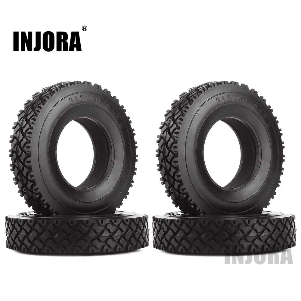 INJORA 4Pcs Rubber Tyres Wheel Tires With Sponge For 1:14 Tamiya Tractor Trucks RC Car