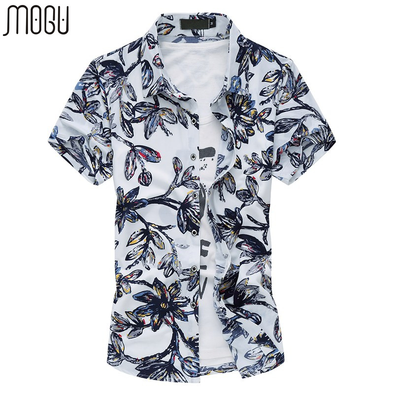 MOGU Herren Blumen Button Down Kurzarm Hemd Slim Fit Hemd