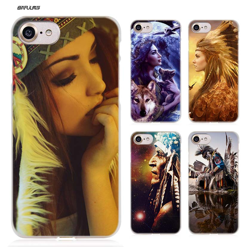 BiNFUL Indian feathers native american Hard Clear Case Cover Coque for iPhone X 6 6s 7 8 Plus 5s SE 5 4s 4 5c