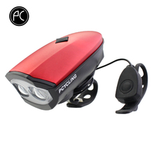 PCycling Bicycle Light USB Rechargeable Cycling Horn IPX5 Waterproof Electronic Handlebar 140db Bell with 2 T6 LED Light Alarm