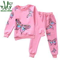 Girls Sports Suits Clothing Sets For 4 6 8 10 12 14 Year Girl print Tracksuits Costume Cotton Spring &Autumn Sportswear Outfits