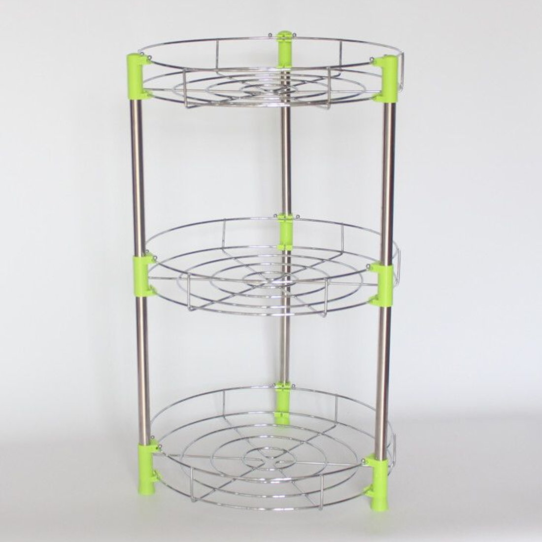 3-Layer Multifuction Stainless Steel Pan Organizer Rack Shelves Pot Holder Kitchen Storage - Silver + Green