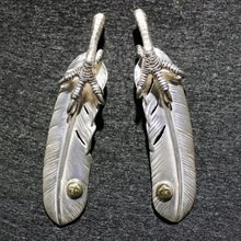 High-Grade Goro 's Indian Fashion Handmade Engraved 925 Silver Pure Philosopher's Feather Lovers Necklace Pendant