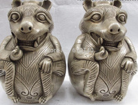 9 Chinese Folk Classical White Copper Silver Fengshui Mouse Bottle Pot Vase Pair